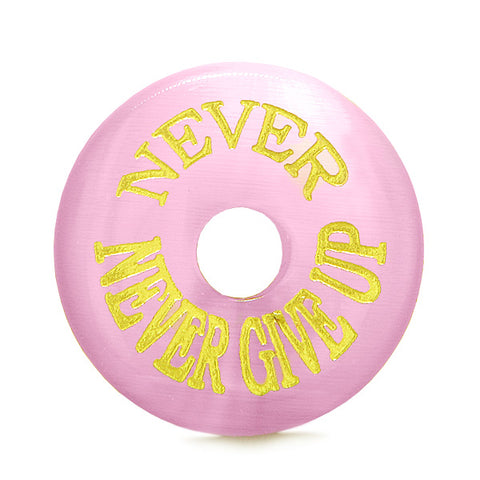 Inspiration Never Never Give Up Amulet Donut Lucky Charm Pink Simulated Cats Eye Necklace