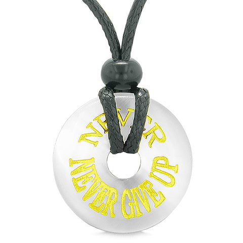 Inspiration Never Never Give Up Amulet Lucky Charm Donut White Simulated Cats Eye Necklace