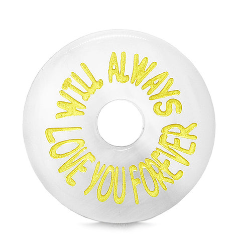Inspiration Will Always Love You Forever Amulet Lucky Charm Donut White Simulated Cats Eye Necklace