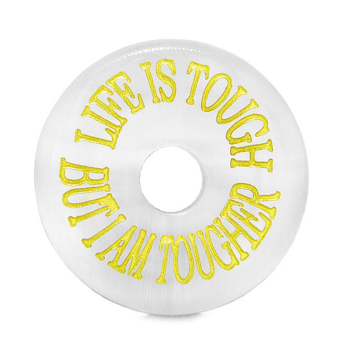 Inspiration Life is Tough But I am Tougher Amulet Charm Donut White Simulated Cats Eye Necklace