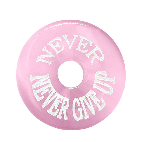 Inspiration Never Never Give Up Amulet Lucky Charm Donut Pink Simulated Cats Eye Necklace