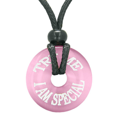 Inspiration Try Me I Am Special Amulet Lucky Charm Donut Pink Simulated Cats Eye Fun Necklace