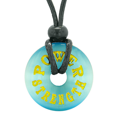 Inspiration Power and Strength Amulet Magic Lucky Charm Donut Sky Blue Simulated Cats Eye Necklace