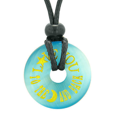 Inspiration Love You to the Moon and Back Amulet Donut Lucky Charm Blue Simulated Cats Eye Necklace