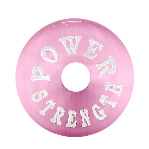Inspiration Power and Strength Amulet Lucky Charm Magic Donut Pink Simulated Cats Eye Necklace