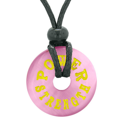Inspiration Power and Strength Amulet Magic Lucky Charm Donut Pink Simulated Cats Eye Necklace