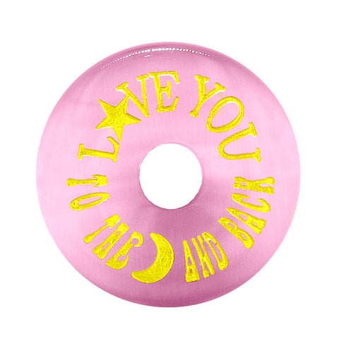 Inspiration Love You to the Moon and Back Amulet Donut Lucky Charm Pink Simulated Cats Eye Necklace