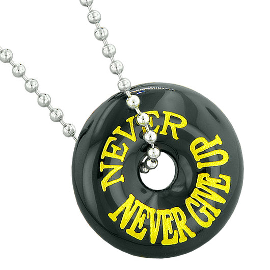 Inspirational never never give up amulet lucky donut charm black inspirational never never give up amulet lucky donut charm black agate pendant 18 inch necklace aloadofball Images