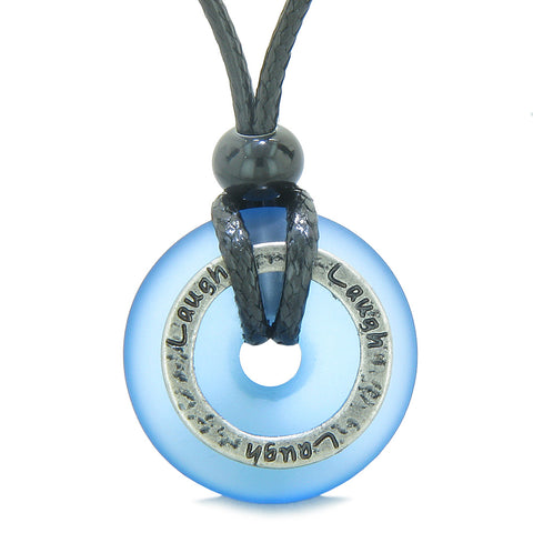 Inspirational Sea Glass Lucky Could Blue Donut Hammered Brass LAUGH Energy Circle Adjustable Necklace