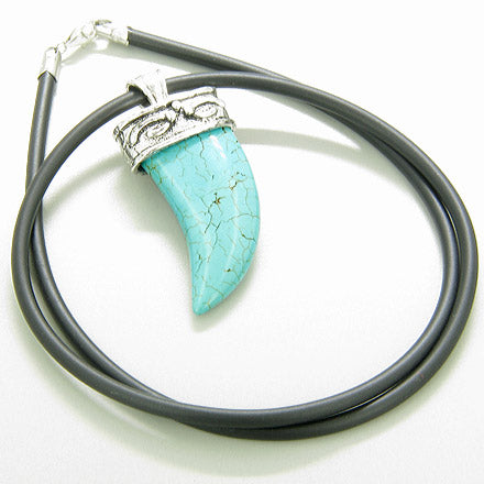 A Italian Horn Turquoise Pendant on Silver Bail Rubber Necklace