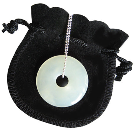 Jade Talisman Donut With Silver Chain