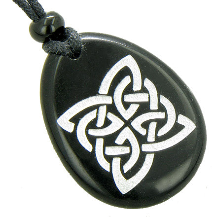 Magic Celtic Shield Knot Spiritual Amulet Word Stone Necklace