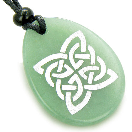 Magic Celtic Shield Knot Money Amulet Word Stone Necklace