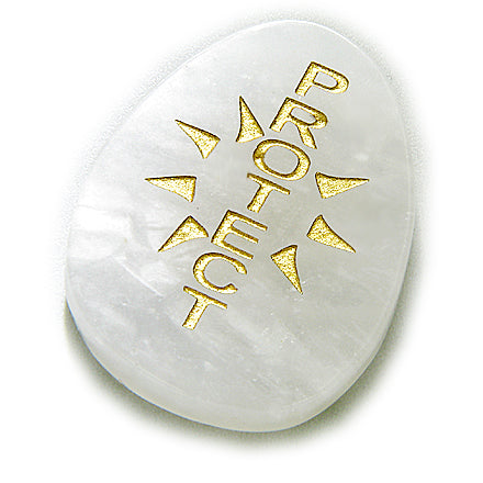 Sun Energy White Jade Protection Amulet Word Gemstone