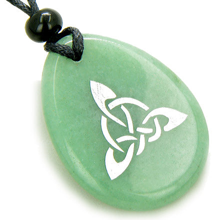 Magic Celtic Triquetra Knot Money Amulet Word Stone Necklace
