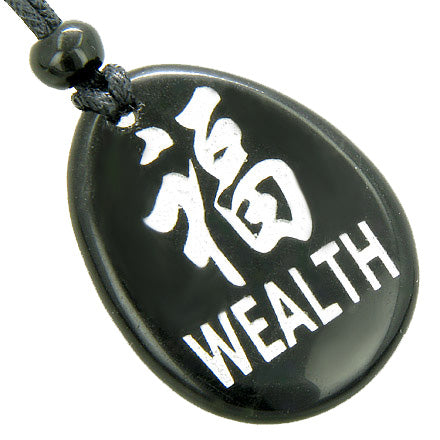 Kanji Symbol Wealth Black Onyx Magic Amulet Word Stone Necklace