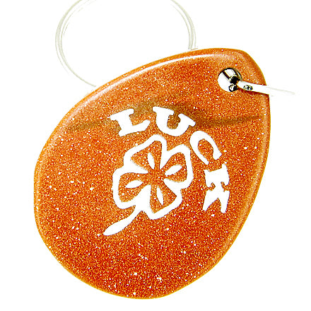 Lucky Clover Wish Stone Goldstone Gemstone Keychain