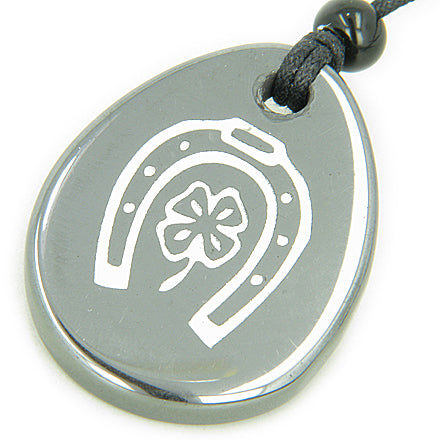 Protection & Lucky Horse Shoe Lucky Clover Wish Stone Necklace