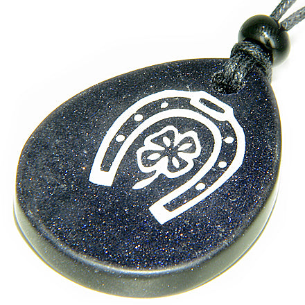Lucky Horse Shoe Lucky Clover Wish Stone Blue Goldstone Necklace