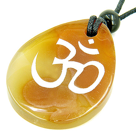 Lucky Om Symbol Wish Stone Natural Agate Gemstone Necklace