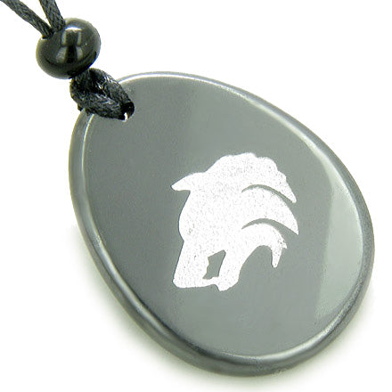 Protection Wolf Head Amulet Hematite Word Stone Lucky Necklace