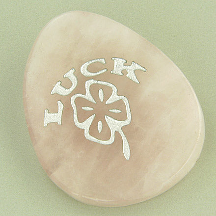 Clover Lucky Love Talisman Word Stone In Rose Quartz