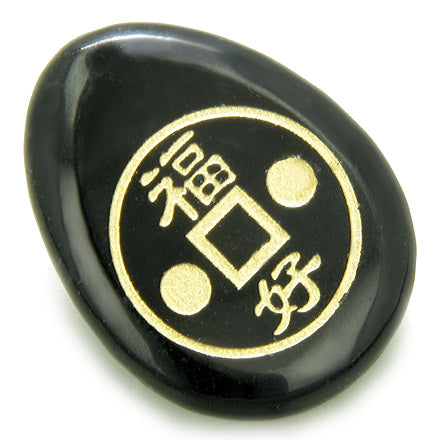 Fortune Lucky Coin Circle Black Onyx Amulet Word Wish Stone