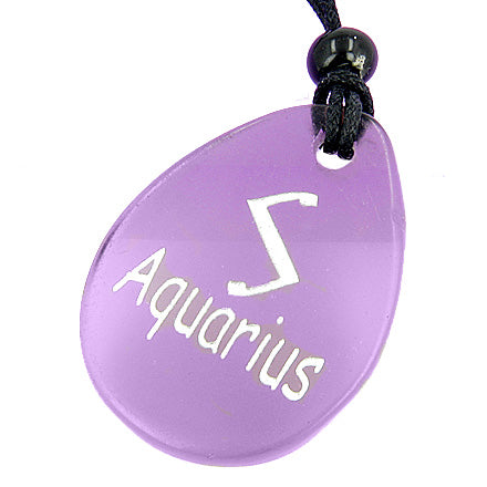 A Amethyst Aquarius Lucky Astrological Rune Necklace