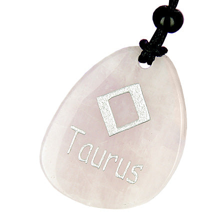 A Rose Quartz Taurus Lucky Astrological Rune Necklace