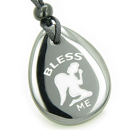Bless Me Praying Guardian Angel Amulet Hematite Lucky Wish