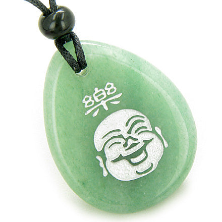 Good Luck Charm Happy Buddha Face Amulet Aventurine Lucky Wish Stone Pendant Necklace
