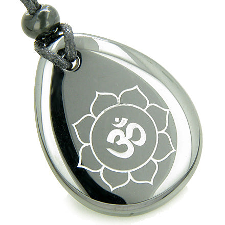 Magic OM and Lotus Sun Circle Amulet Hematite Lucky Wish Stone Necklace