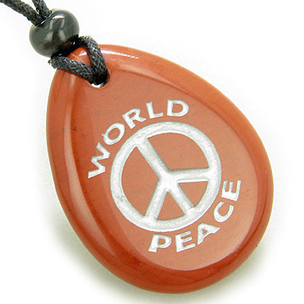 Amulet Lucky World Peace Red Jasper Wish Stone Pendant Necklace