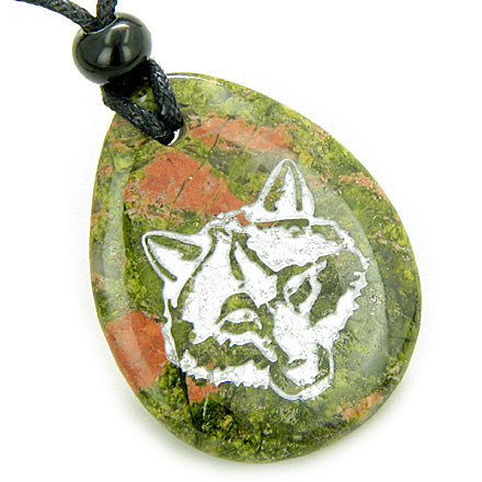 Lucky and Protection Wolf Head Amulet Unakite Wish Stone Pendant Necklace