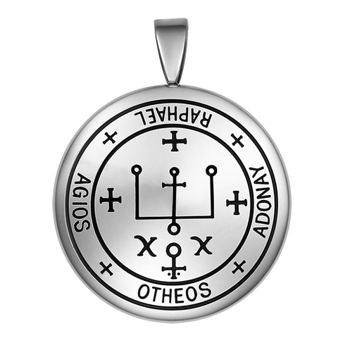 Guardian Archangel Raphael Sigil Amulet Keep Me Safe and Positive Inscription Prayer Medallion Pendant