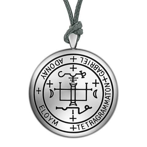 Guardian Archangel Gabriel Sigil Amulet Keep Me Safe and Positive Inscription Prayer Adjustable Necklace