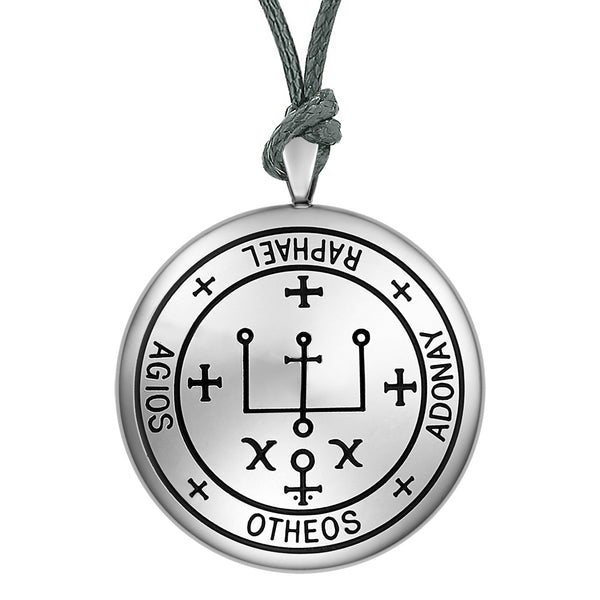Guardian Archangel Raphael Sigil Amulet Keep Me Safe and Positive Inscription Prayer Adjustable Necklace