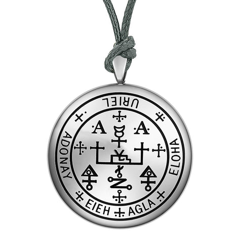 Guardian Archangel Uriel Sigil Amulet Keep Me Safe and Positive Inscription Prayer Adjustable Necklace