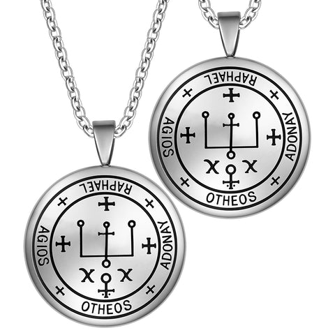 Archangel Raphael Sigil Amulet Keep Me Safe and Positive Inscription Prayer Love Couples Necklaces