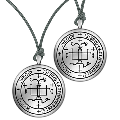 Archangel Gabriel Sigil Amulet Keep Me Safe and Positive Prayer Love Couples Adjustable Necklaces