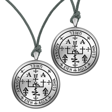 Archangel Uriel Sigil Amulet Keep Me Safe and Positive Prayer Love Couples Adjustable Necklaces