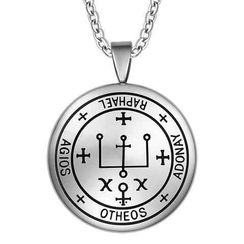 Guardian Archangel Raphael Sigil Amulet Keep Me Safe and Positive Inscription Prayer 18 Inch Necklace