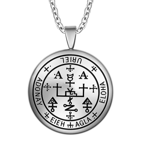 Guardian Archangel Uriel Sigil Amulet Keep Me Safe and Positive Inscription Prayer 22 Inch Necklace