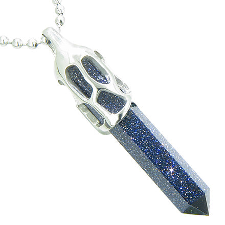 Positive Energy Magic Cosmic Amulet Crystal Point Lucky Charm Blue Gold Stone Pendant Necklace