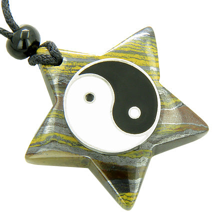Amulet Star Pentacle and Lucky Ying Yang Charm in Tiger Eye Iron Gemstone Pendant Necklace