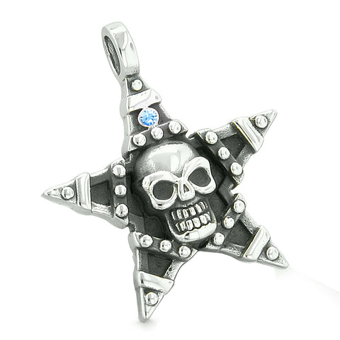 All Seeing Skull Star Pentacle Love Couples Best Friends Blue White Crystals Adjustable Necklaces