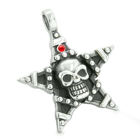 All Seeing Skull Star Pentacle Love Couples or Best Friends Red White Crystals Amulet Necklaces