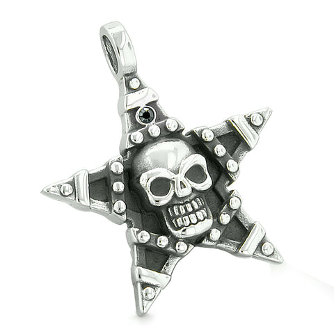 All Seeing Skull Magic Super Star Pentacle Powers Amulet Black Crystal Pendant Adjustable Necklace