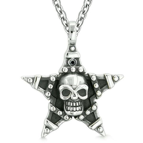 All Seeing Skull Magic Super Star Pentacle Amulet Black Austrian Crystal Pendant Necklace