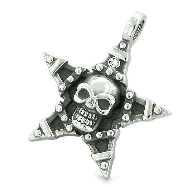 All Seeing Skull Magic Super Star Pentacle Powers Amulet White Crystal Pendant Adjustable Necklace